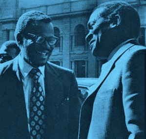 A chance meeting on the streets of Johannesburg between Sobukwe and his fellow ANC Youth League member at Fort Hare University,Chief Mangosuthu Buthelezi,1958.